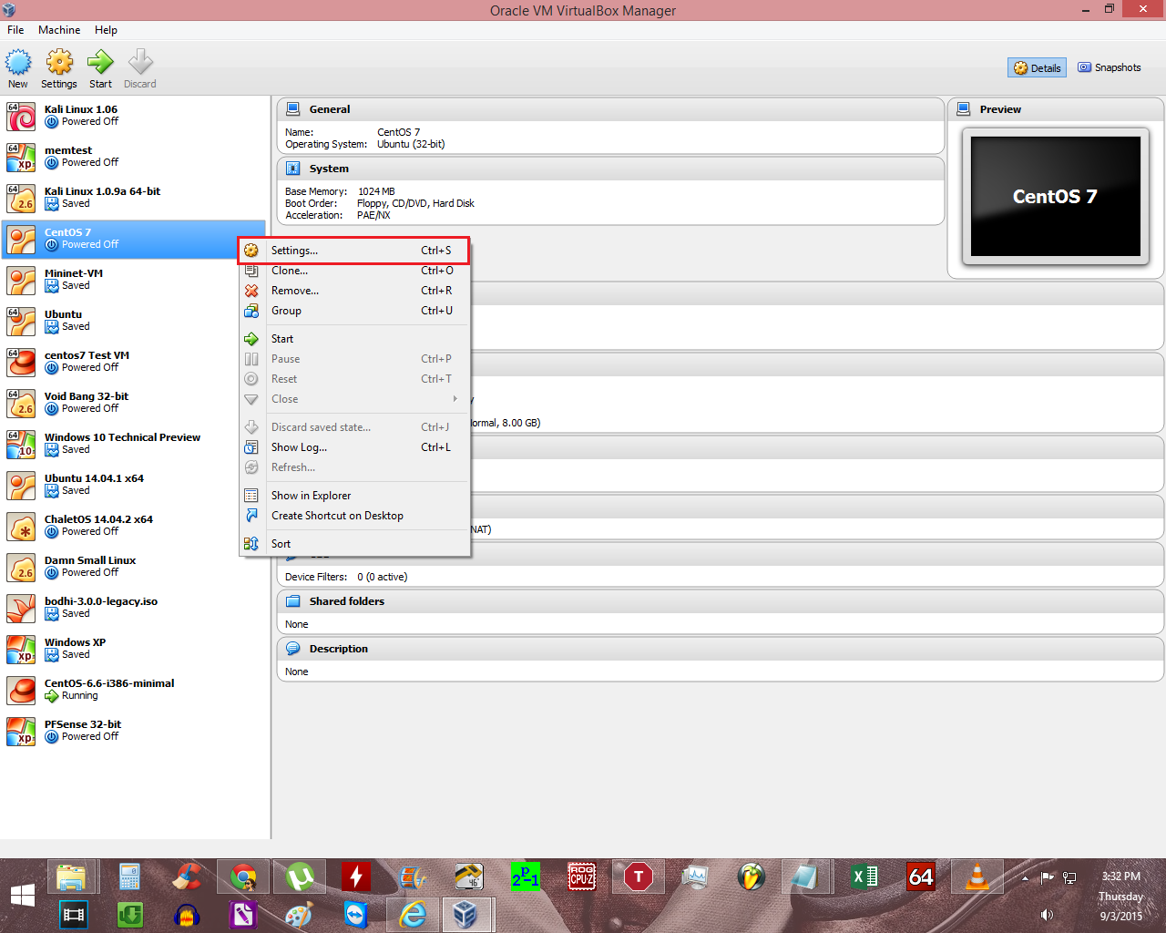 virtualbox settings