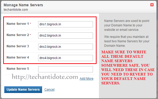 default bigrock name servers