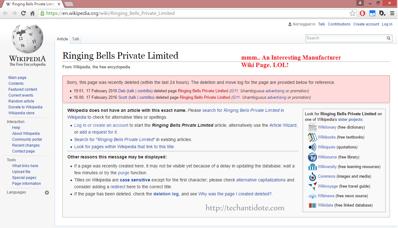 Ringing Bells Private Limited - Wiki page