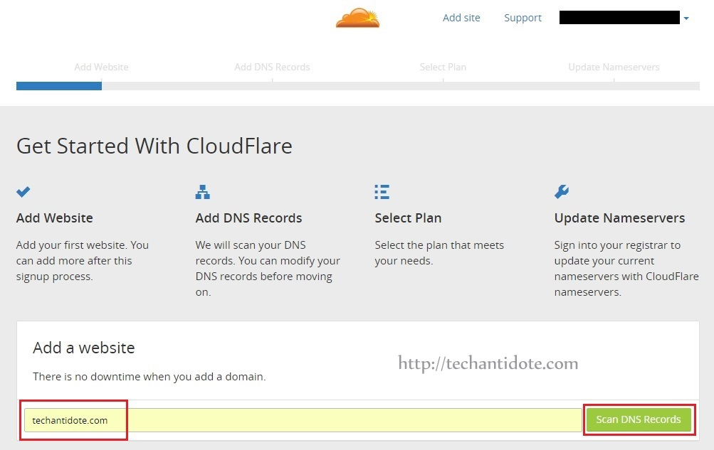 cloudflare add site and scan dns