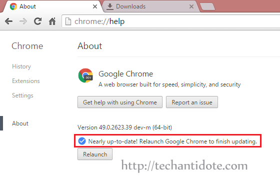 Relaunch Google Chrome to finish updating error