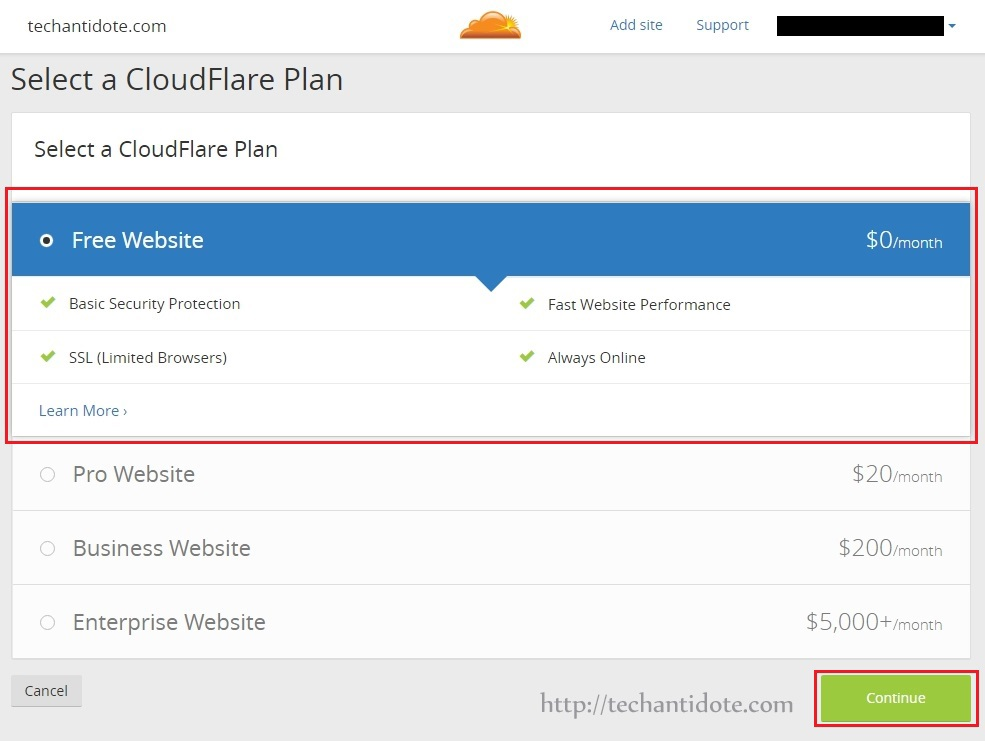 select cloudflare free plan