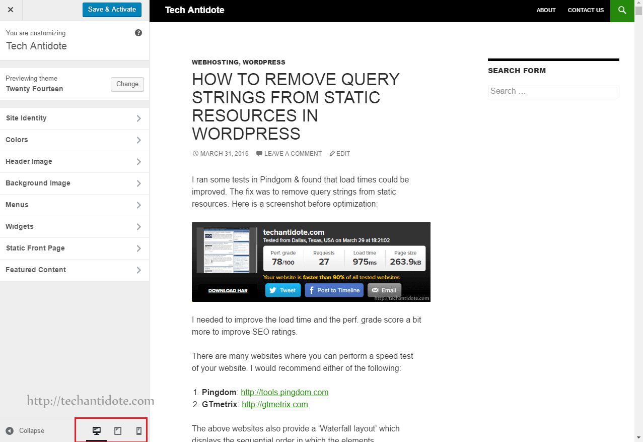 wordpress 4.5 customizer displaying theme in desktop mode