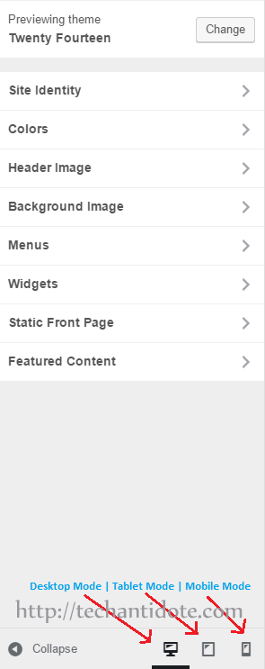 wordpress 4.5 desktop, tablet and mobile mode selection