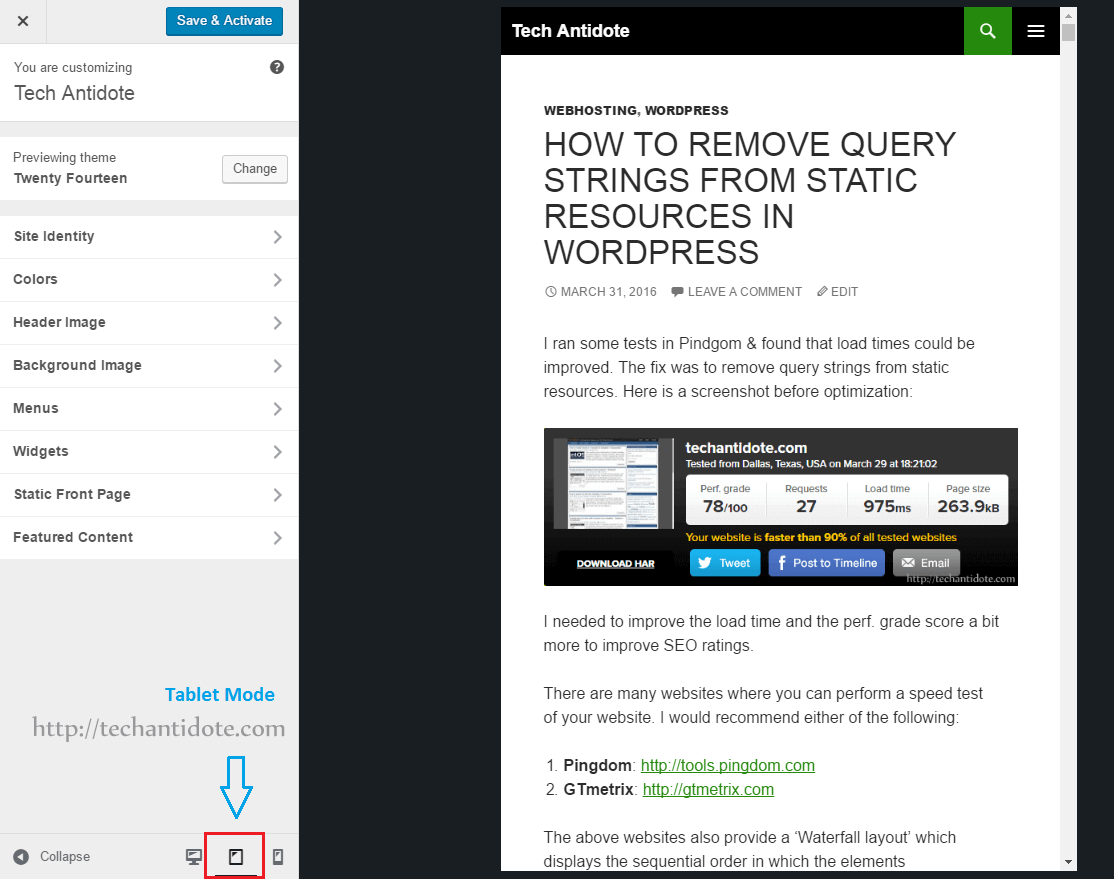 wordpress 4.5 customizer displaying theme in tablet mode