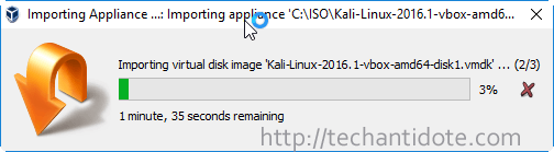 importing kali linux appliance progress bar