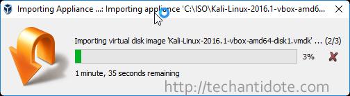 importing kali linux appliance progress bar