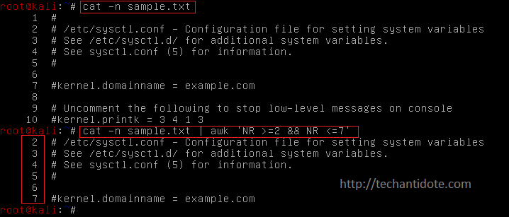 How to display a file from one line number to another in Linux