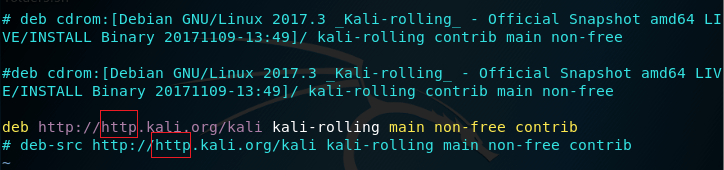 kali linux default apt-get sources file screenshot