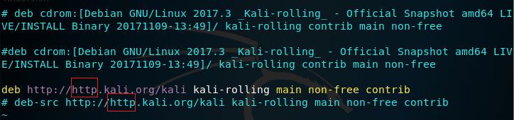 kali linux default apt-get sources file screenshot
