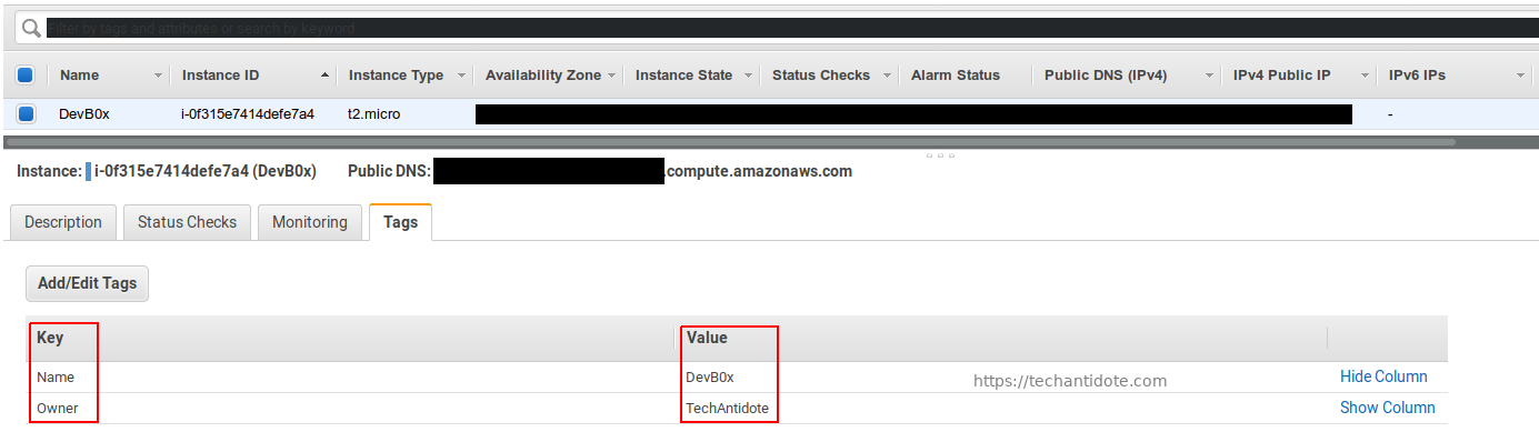 aws ec2 instance tags screenshot