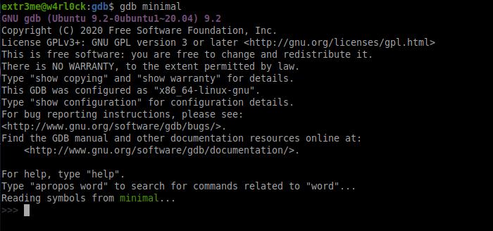 gdb minimal output