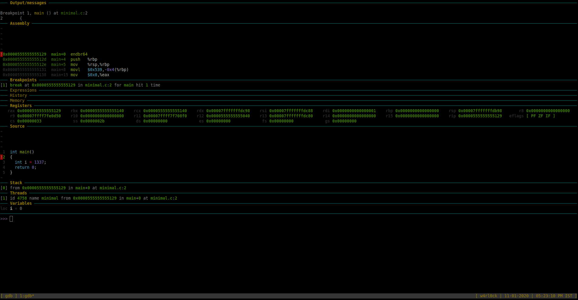 GDB Dashboard screenshot